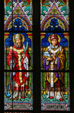 Stained Glass - Saint Clement and Saint Leo. Stained Glass in the Basilica of Vysehrad in Prague, Czech Republic, depicting Saint Clement of Rome and Pope Saint Stock Photography