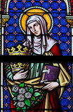Stained Glass - Saint Elizabeth, Queen of Hungary Stock Photo