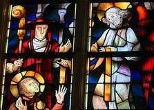 Stained Glass - Saint Hubertus or Hubert stock photo