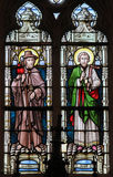 Stained Glass - Saint James and Saint Joseph. Stained glass window depicting Saint James and Saint Joseph in the Church of Stabroek, Belgium stock photo