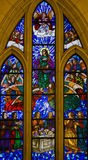 Stained Glass of Saint John the Evangelist in Madrid Cathedral Stock Images