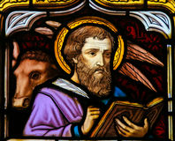 Stained Glass of the Saint Luke the Evangelist Stock Photos