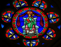 Stained Glass - Saint Manveus or Manvieu, bishop of Bayeux Stock Photos