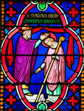 Stained Glass - Saint Manveus or Manvieu, ordinated as bishop of Royalty Free Stock Image