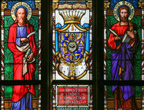 Stained Glass - Saint Matthew and Saint Bartholomew Royalty Free Stock Photography