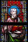 Stained Glass - Saint Philip. Stained Glass in the Church of Our Blessed Lady of the Sablon in Brussels, Belgium, depicting Saint Philip or Philippus Royalty Free Stock Photos
