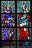 Stained Glass - Saint Prosper and Ludmilla Stock Photo