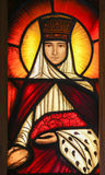 Stained Glass - Saint Therese of Lisieux. Stained Glass window in the 15th Century Elzenveld Chapel in Antwerp, Belgium, depicting Saint Therese of Lisieux Royalty Free Stock Photo