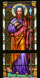 Stained Glass - Saint Thomas. Stained Glass window in St. Vitus Cathedral, Prague, depicting Saint Thomas Royalty Free Stock Photos