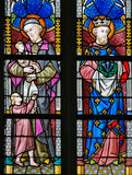 Stained Glass - Saint Vincent de Paul and Saint Louis of France Royalty Free Stock Images