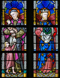 Stained Glass - Saint Vincent de Paul and Saint Louis of France Royalty Free Stock Photos