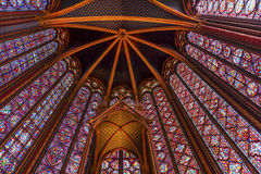 Stained Glass Sainte Chapelle  Cathedral Ceiling Paris France Royalty Free Stock Image