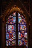 Stained glass in Sainte Chapelle Paris. La Sainte-Chapelle (English: The Holy Chapel) is a Gothic chapel on the Île de la Cité in the heart of Paris, France Royalty Free Stock Image