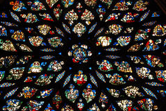 Stained glass in Sainte Chapelle Paris. The sainte-Chapelle in Paris owes its fame to its stained-glass windows: 6,458 sq. ft of glass, of which two thirds are Stock Image