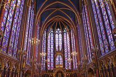 Sainte Chapelle. Stained Glass at Sainte Chapelle in Paris Royalty Free Stock Photos