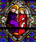 Stained Glass - Saints Conteste and Manveus, bishops of Bayeux Royalty Free Stock Photo