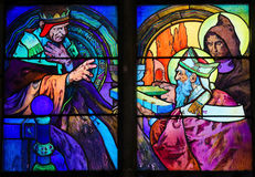 Stained Glass of Saints Cyril and Methodius by Alphonse Mucha Stock Photos