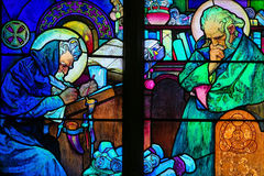 Stained Glass of Saints Cyril and Methodius by Alphonse Mucha Royalty Free Stock Images