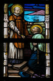 Stained Glass - Saints Francis Xavier and Ignatius of Loyola Royalty Free Stock Image