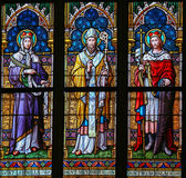 Stained Glass - Saints Ludmilla, Methodius and Wenceslas Royalty Free Stock Images
