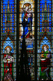 Stained Glass - Saints Peter and John and Mother Mary Stock Photos