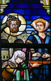 Stained Glass - Salome with the Head of John the Baptist Stock Photos