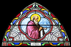 Stained glass. SAMUT SAKHON, THAILAND - APRIL 12: Stained glass window depicting saint in Christ Church on April, 12, 2014 stock photography