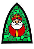 Stained-glass with Santa Claus. Stock Photos