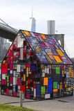 Stained glass sculpture by Tom Fruin under Brooklyn Bridge Stock Photo