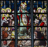 Stained Glass - Sermon on the Mount stock photo