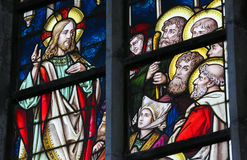 Stained Glass - Sermon on the Mount Royalty Free Stock Photography