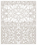 Stained glass set with abstract swirls and flowers , horizontal orientation. Set contour illustrations of stained glass with abstract swirls and flowers Royalty Free Stock Image