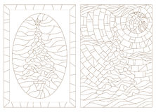 Stained glass set of contour illustrations with Christmas trees Royalty Free Stock Photo