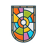 Stained glass shield. Emblem vector graphic symbol Stock Photos