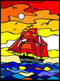 Stained glass Ship Royalty Free Stock Photo