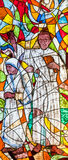 Stained glass showing the missionaries. Mother Teresa and father Ante Gabric Stock Photo