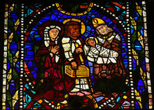 Stained Glass of Simeon the God-receiver and the Child Jesus Royalty Free Stock Photo