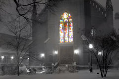 Stained Glass Snowfall Stock Photography
