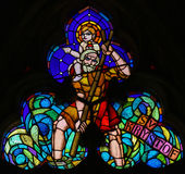 Stained Glass - St Christopher Carrying the Christ Child Royalty Free Stock Photo