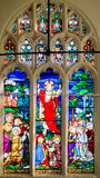 Stained glass in St Crux Church York. England, York - Aug 30, 2016: Stained glass in St Crux Church York 1697-1887 Tudor/Stuart Architecture Royalty Free Stock Image