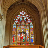 Stained Glass of St. Gudula Cathedral, Brussels Stock Photos