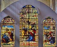 Stained Glass. Scene  in Segovia, Spain Stock Photos