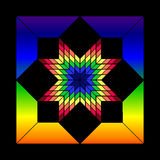 Stained Glass Star. The colors of the rainbow pop out at you from the center of this Stained Glass Star.  Based on a traditional quilt pattern who's origins have Stock Image