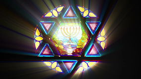 Stained glass with Star of David (Seamless Loop) stock illustration