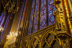 Stained-glass and status in Sainte-Chapelle, Paris, France Stock Images