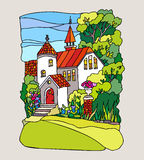 Stained glass style. Landscape with mansion Royalty Free Stock Photos