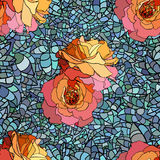 Stained glass style pattern with orange roses and Stock Photo