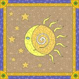 Stained glass sun moon Stock Images