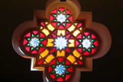 Stained glass in the synagogue Royalty Free Stock Photo