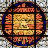 Stained Glass of the Tetragrammaton - the name of God. Stained Glass in Church of Saint-Germain-des-Pres in Paris, depicting the tetragrammaton, the Hebrew Royalty Free Stock Photography
